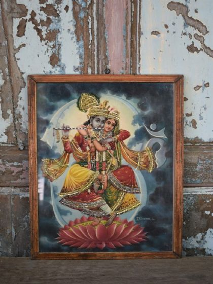 Romantic Vintage Print of the hindu god of love, Krishna playing the flute to Sita